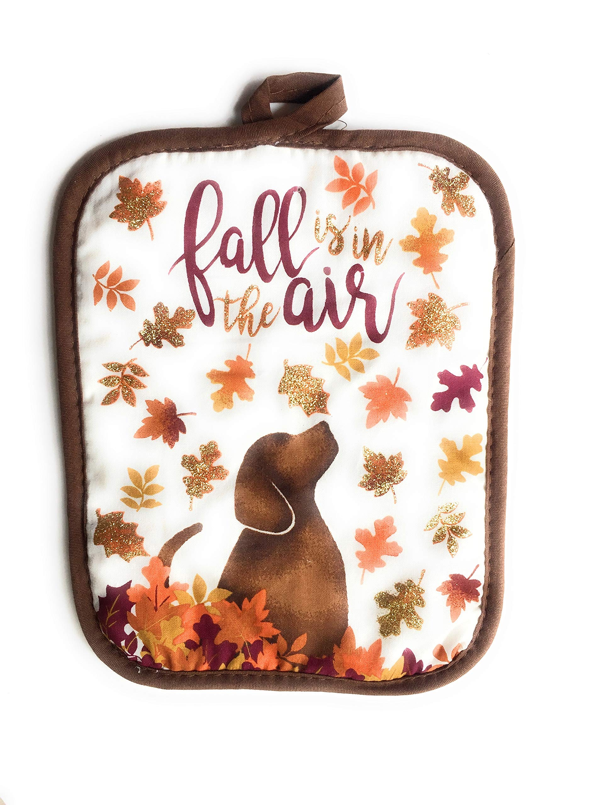 Fall Autumn Oven Mitt & Pot Holder Set With Dog Print and 4 oz. Simmering Potpourri Pumpkin Spice