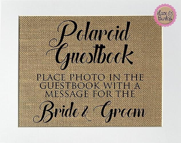 Amazon.com: 8x10 UNFRAMED Polaroid Guestbook Sign / Burlap Print ...