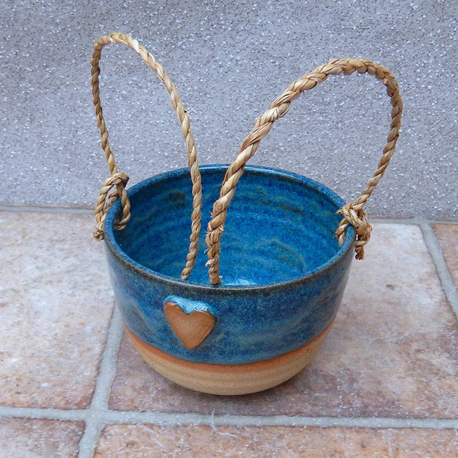 Hanging herb or succulent planter hand thrown stoneware pottery ceramic plant pot wheelthrown handmade heart ready to ship
