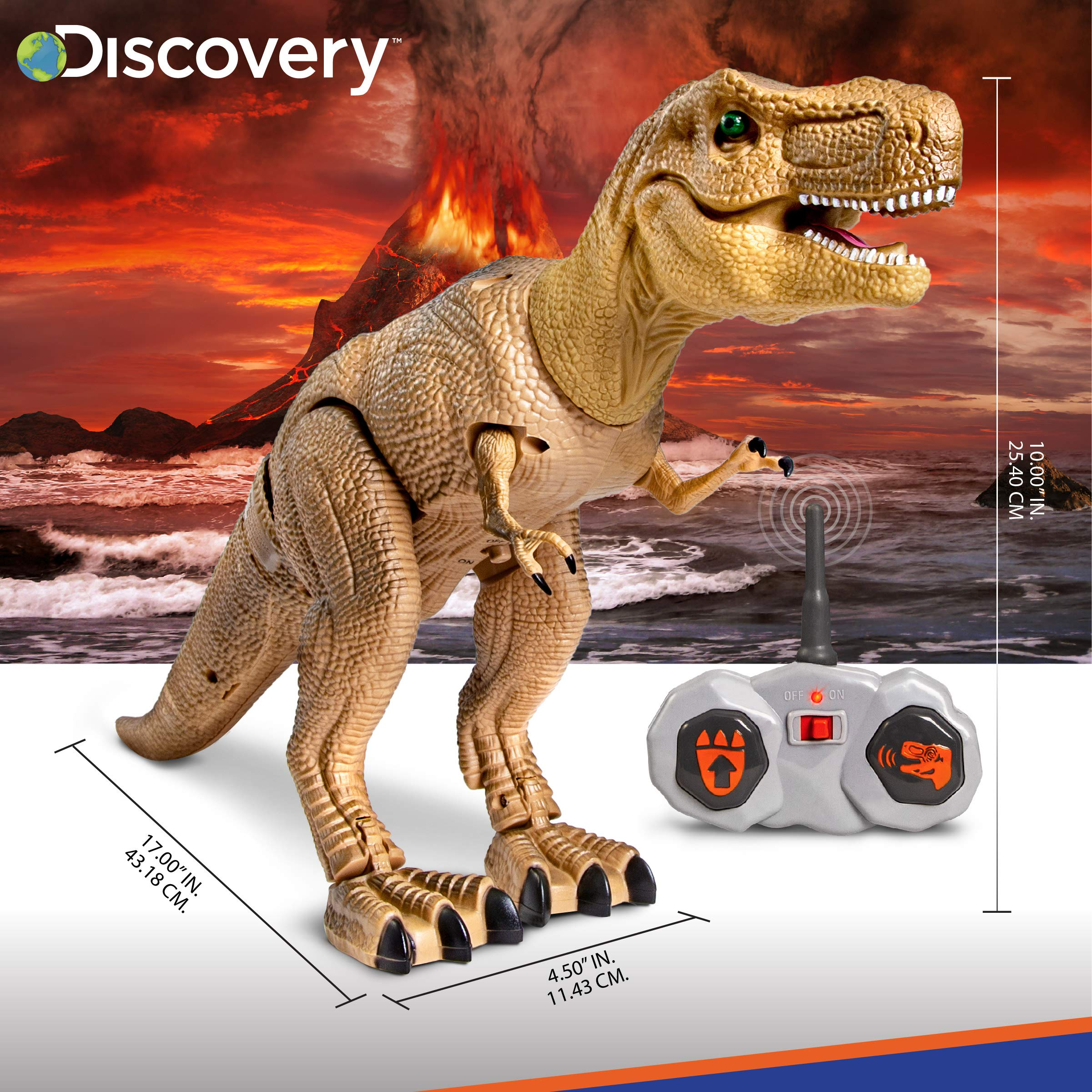 Discovery Kids Remote Control RC T Rex Dinosaur Electronic Toy Action Figure Moving & Walking Robot w/Roaring Sounds & Chomping Mouth, Realistic Plastic Model, Boys & Girls 6 Years Old+ by Discovery Kids (Image #5)