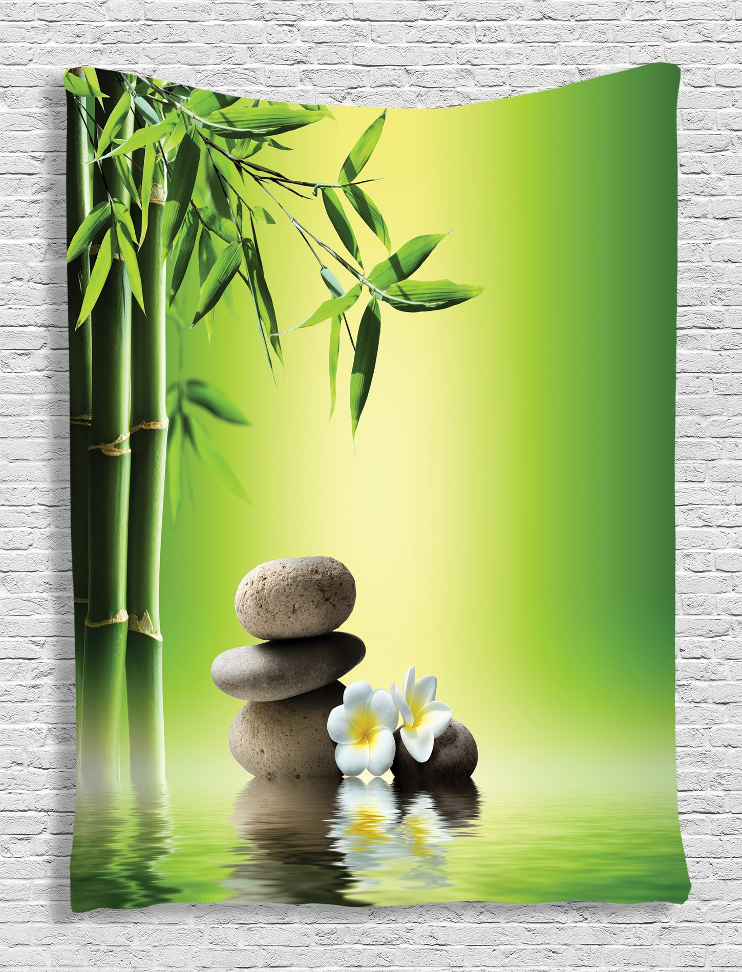 Ambesonne Bamboos Spa Decor Collection, Japanese Therapy and Relaxation Stones Frangipani Flowers Design, Bedroom Living Kids Girls Boys Room Dorm Accessories Wall Hanging Tapestry, Green Yellow