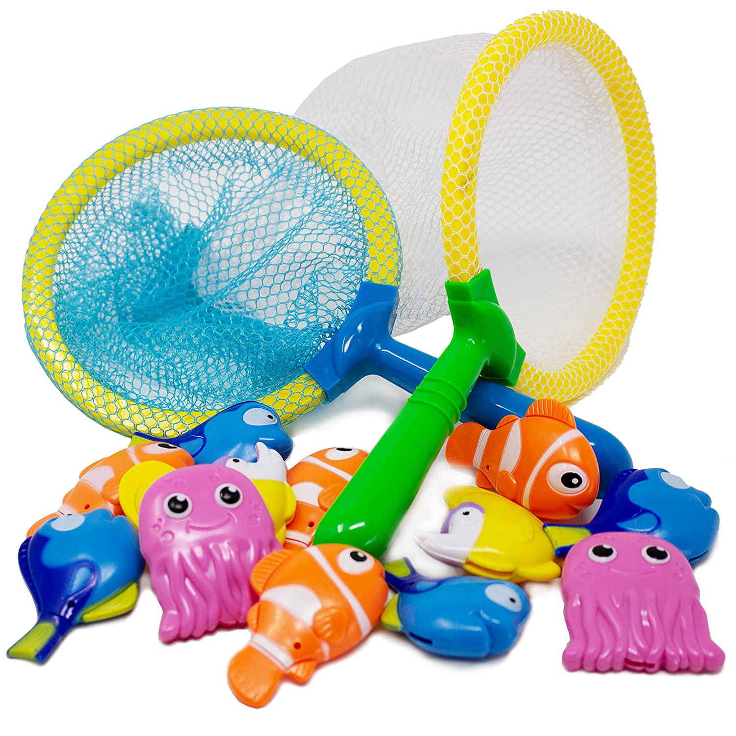 Boley 14 Piece Sinking Dive and Grab Set - Sinking Fish and Net Toy Playset for Kids, Children, Toddlers - Perfect for Bath Time and Summer Fun!