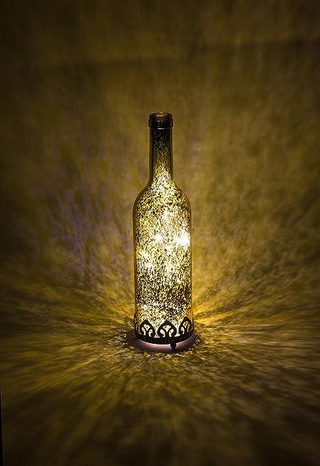 Farol led portavelas LED, color plata, oro, rojo, estilo antiguo, forma de botella, farol decorativo led - Vaso de velas de té, florero de cristal led ...