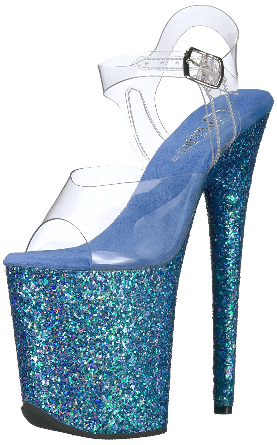 Pleaser Flamingo-808lg, Bout Ouvert Femme Transparent Transparent Glitter) (Clr Ouvert/Blue Holo Glitter) 49b32b8 - therethere.space