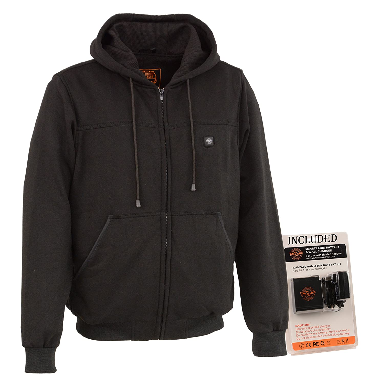 Milwaukee Performance-Men's Heated Hoodie w/Front&Back Heating Elements-BATTERY PACK INCLUDED-BLACK-5X-LARGE MPM1713-SET-BLACK-5XL