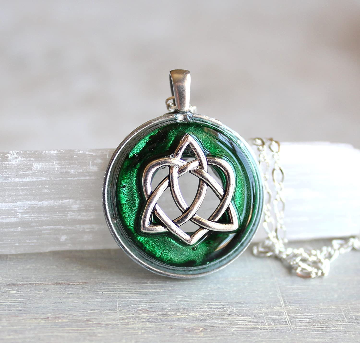 Amazon Forest Green Celtic Sister Knot Necklace Handmade