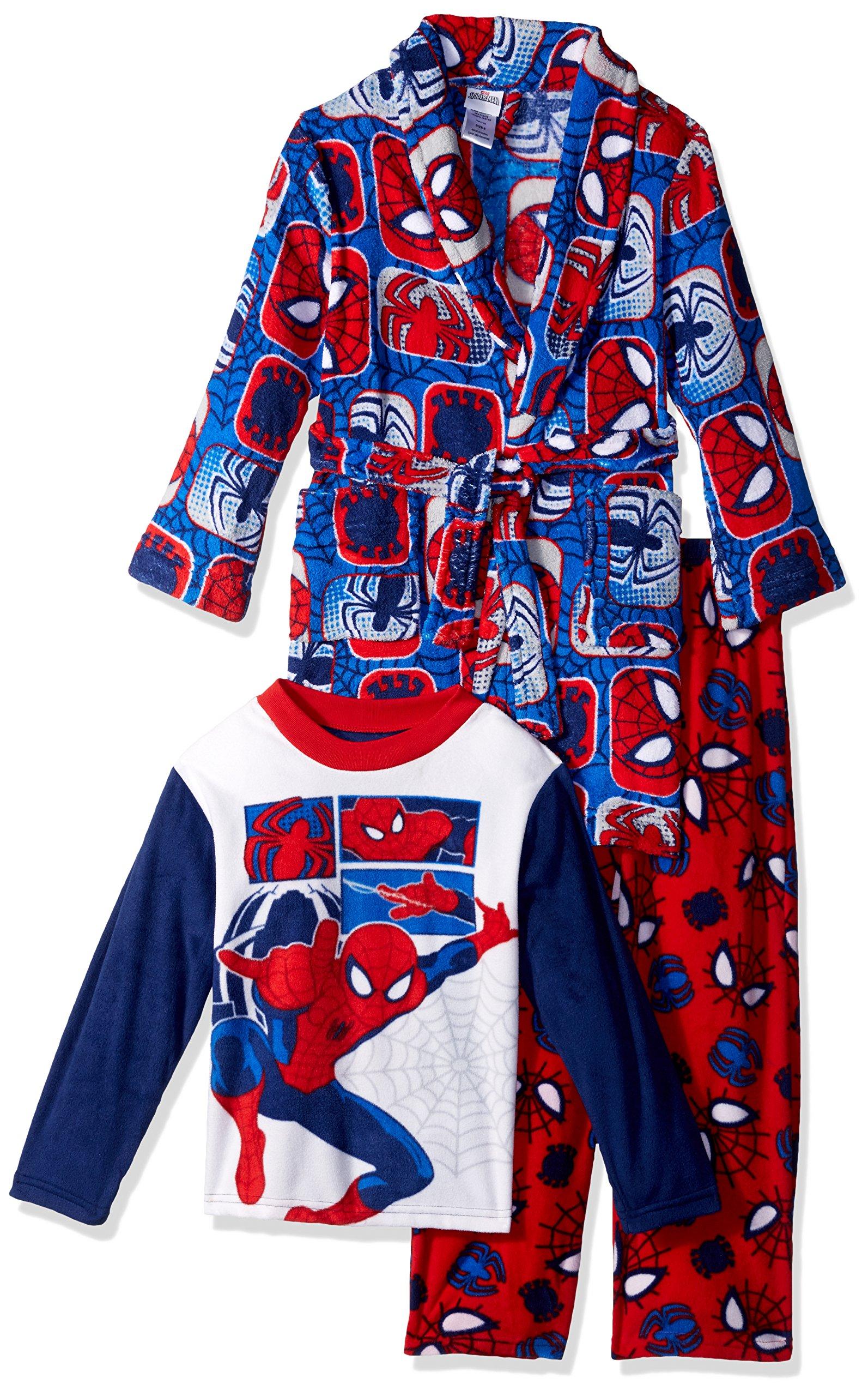 Marvel Boys' Big Spiderman 3-Piece Robe Pajama Set, Comic Webs, 8
