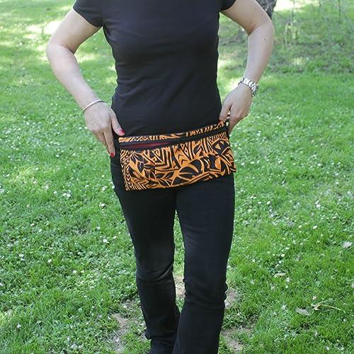 Riñonera Polinesia - Naranja y Negra - Bolso cinturón hecho a mano en lona y algodón