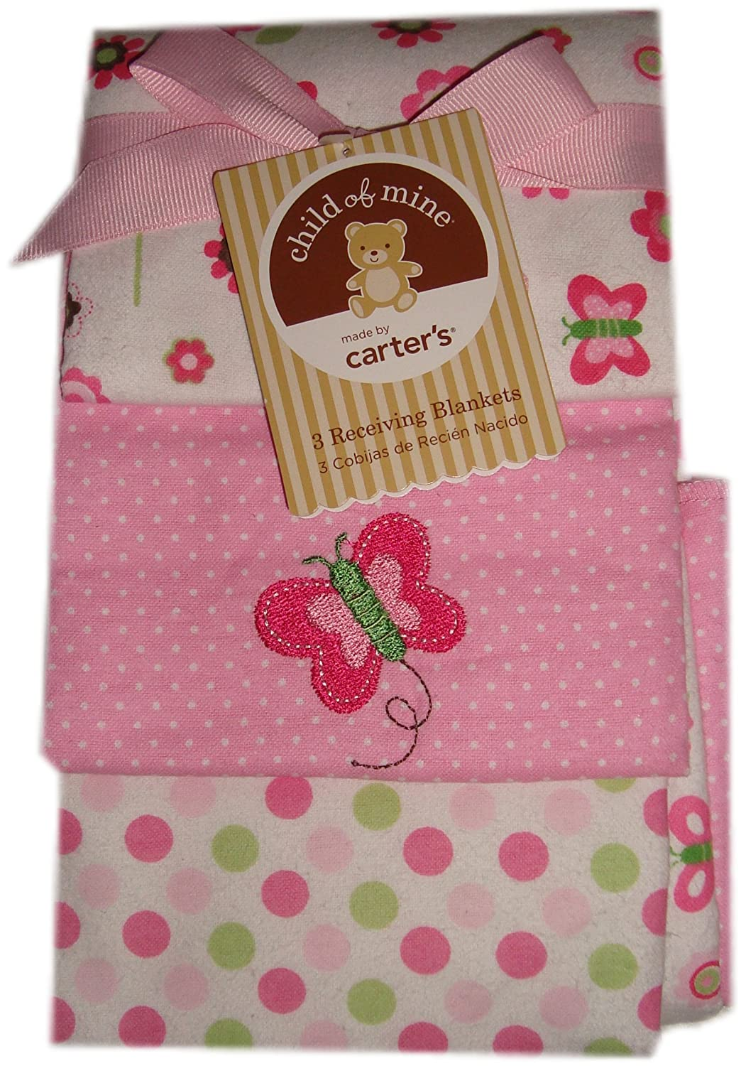 Baby Girl Flannel Receiving Blankets, 3-Pack