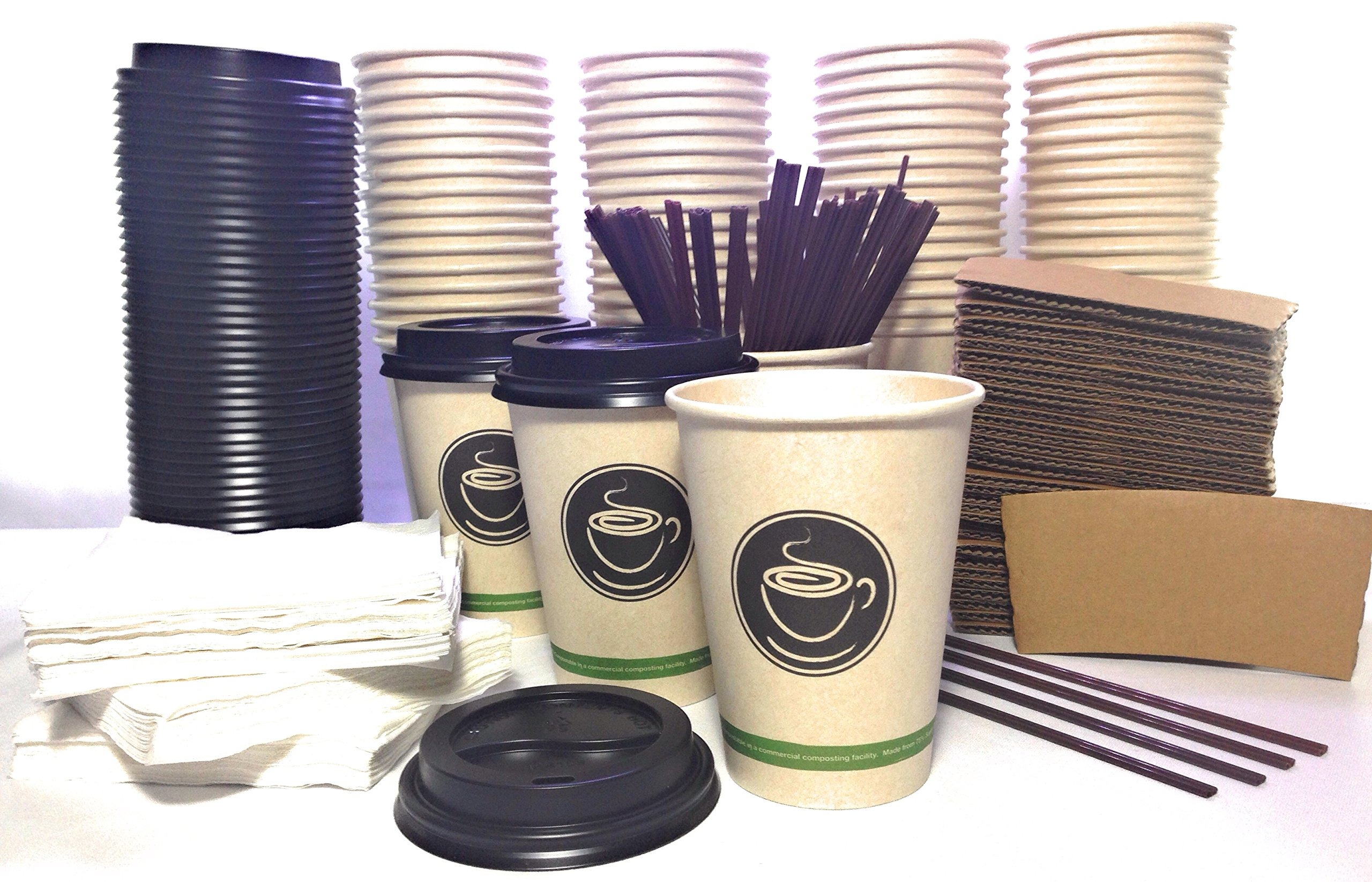 ECO-FRIENDLY Disposable Coffee cups with Lids, Sleeves, Straws, Napkins. 100 set of Fancy 12 oz COMPOSTABLE cups made of Sugar cane paper. For Hot Tea Latte Cappuccino Home Office Party To-go Travel k