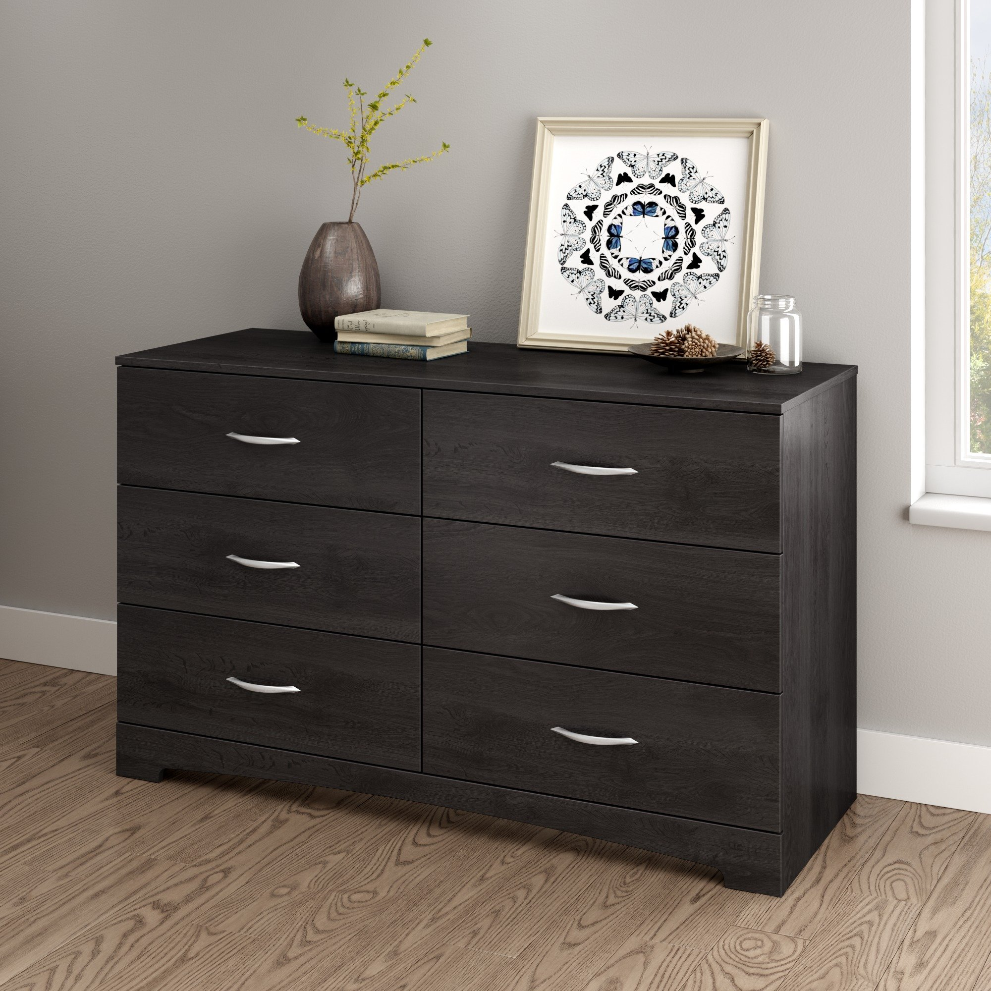 South Shore Step One 6-Drawer Double Dresser, Gray Oak with Matte Nickel Handles by South Shore