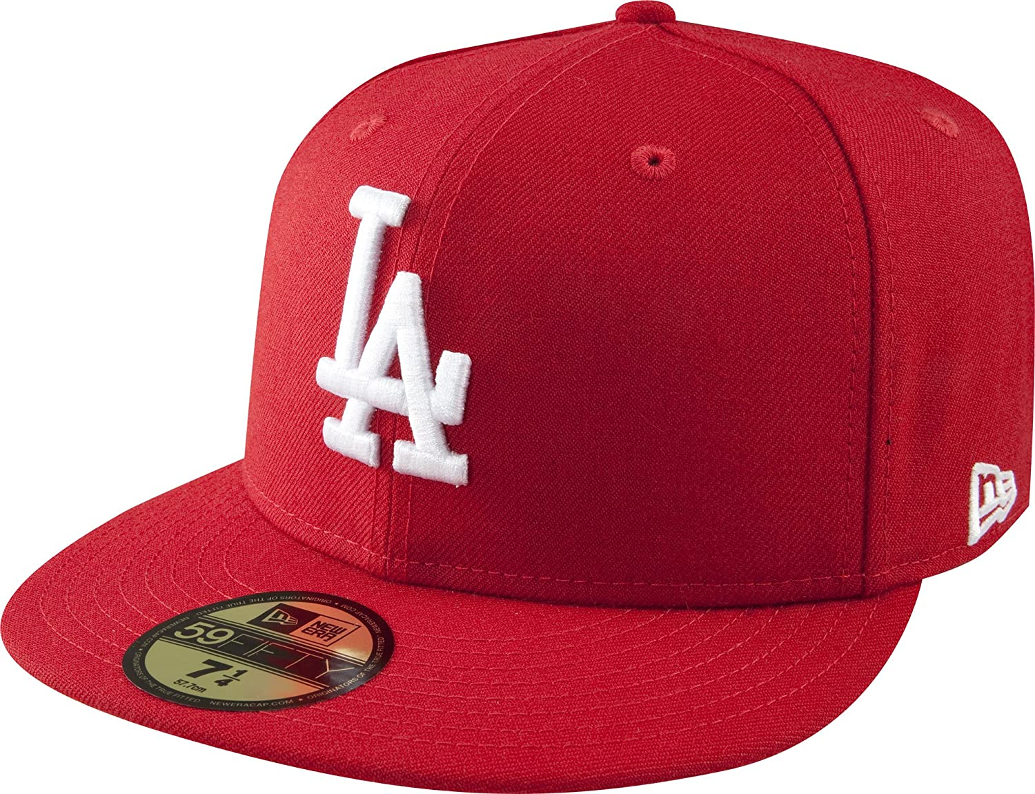 New Era 59Fifty Hat MLB Los Angeles Dodgers Mens Black Red Thread Fitted Cap