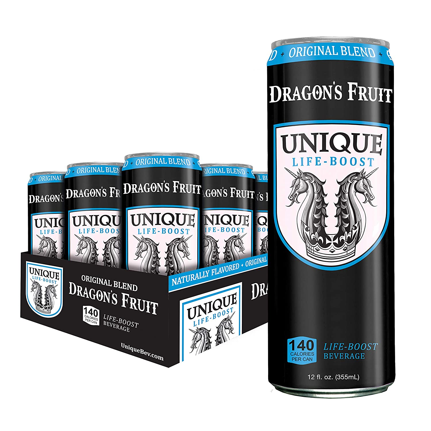 Unique Life Boost Functional Beverage | Natural Green Tea Reishi Mushroom Extract Pure Cane Sugar | Dragon's Fruit, 12oz Cans 12 Pack