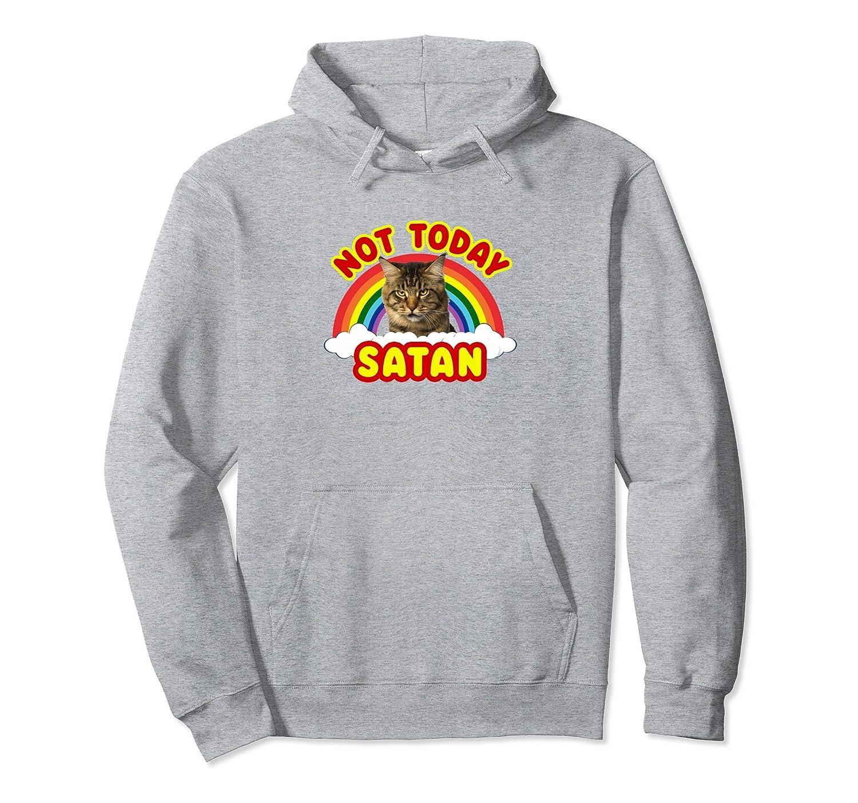 funny satan death metal cat not today rainbow hoodie 4lvs 4loveshirt. Black Bedroom Furniture Sets. Home Design Ideas