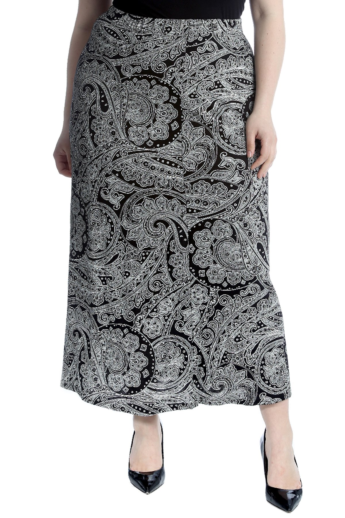 Nouvelle Collection Bold Paisley Print Mid Calf Skirt Black 26-28