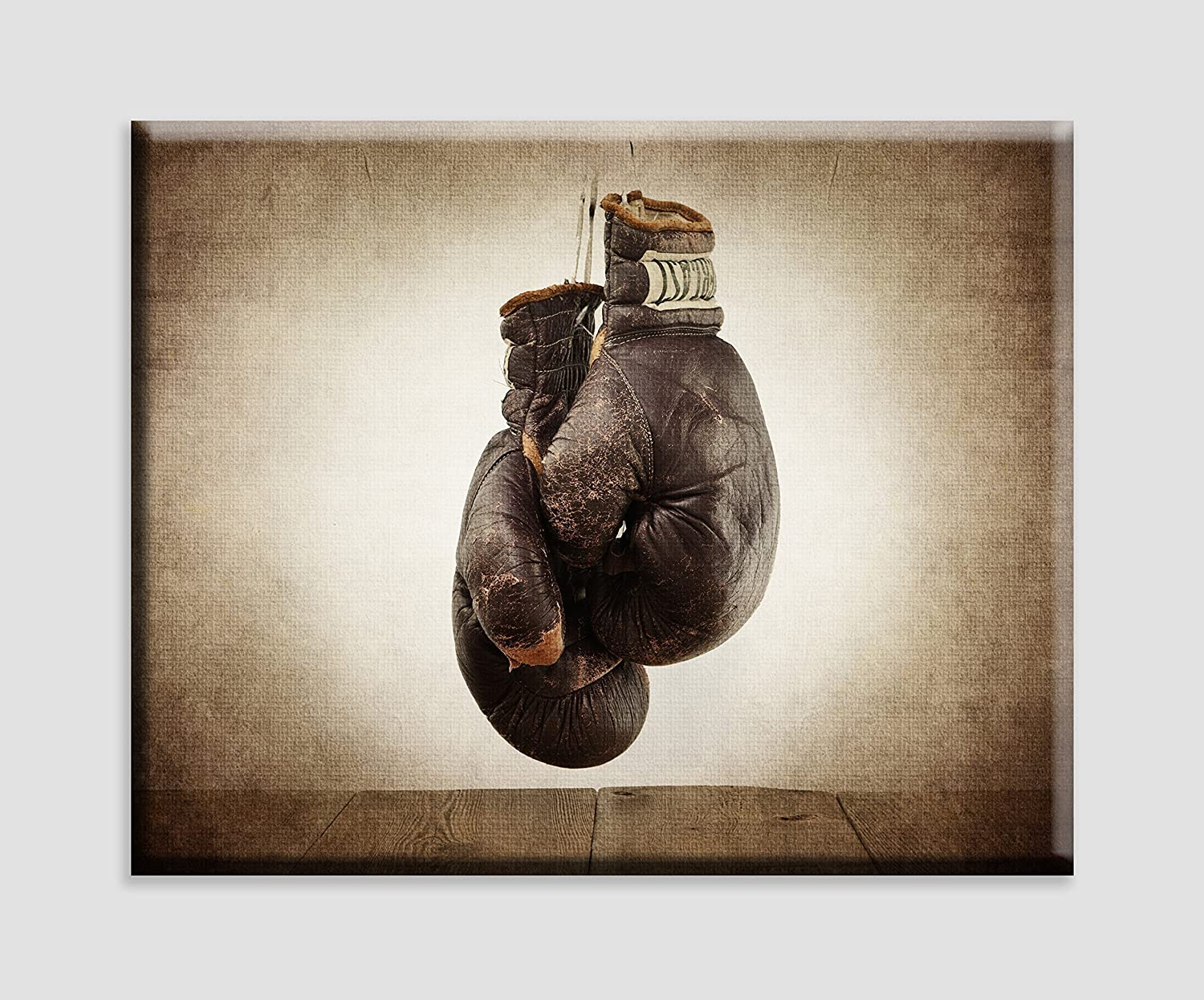 Boxing artwork Man Cave art Vintage Boxing Gloves on Vintage Background Stretched Canvas Wall Art Vintage Sports Nursery Art Boxing Nursery decor Sports Decor Kids Room Wall Art.