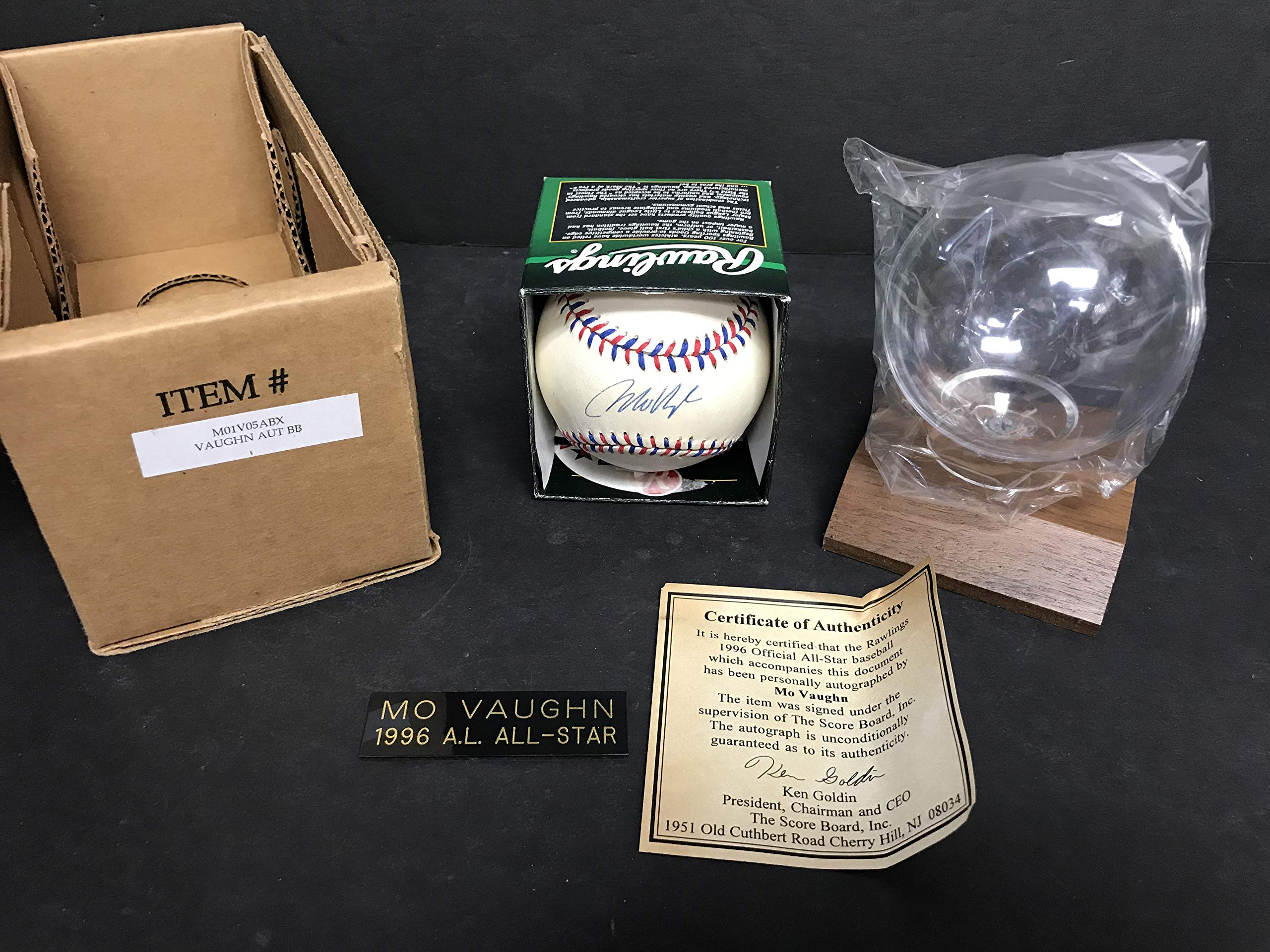 Mo Vaughn 1996 All Star Autographed Signed Baseball with Scoreboard COA and display cube