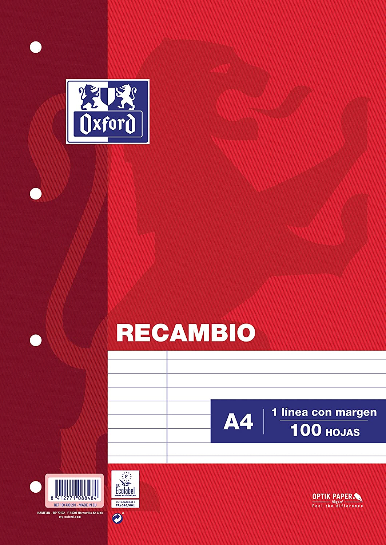 Oxford 100430210 - Recambio de rayas para carpeta A4, 100 hojas, 90 g, con margen