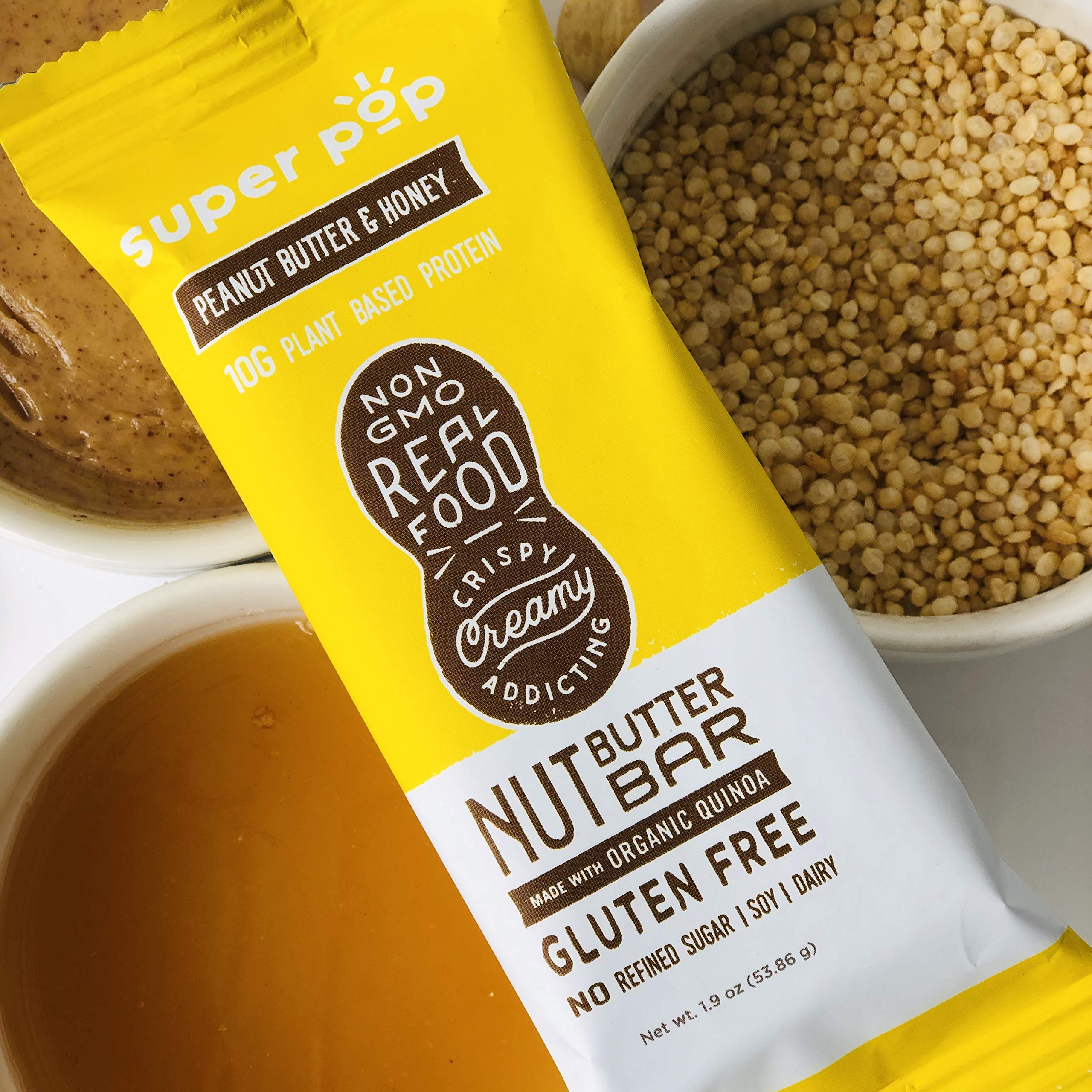 Super Pop Snacks-GLUTEN, SOY & DAIRY FREE with NO Refined Sugar | 10g Plant Based Protein- PB & Honey Nut Butter Bar-12 Pack by Super Pop Snacks