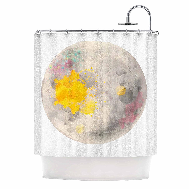 69 x 70 Shower Curtain Kess InHouse Oriana Cordero Moonlight Gray Yellow