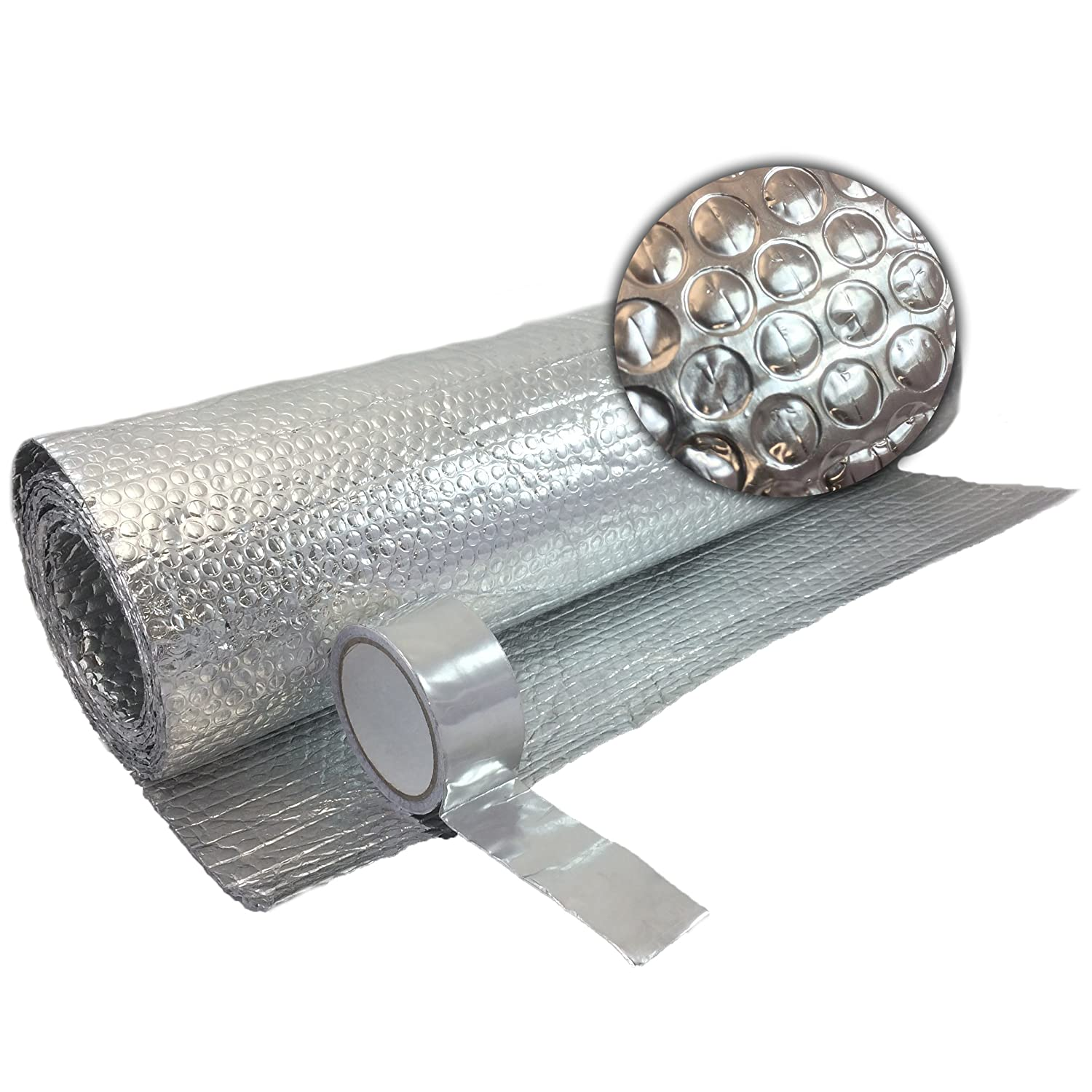 Free Tape 1.2m X 10m Double FOIL Insulation Aluminium Bubble LOFT Caravan Wall Bestport (Europe) Ltd