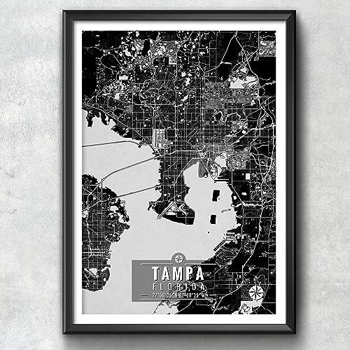 Tampa Florida Map.Amazon Com Tampa Florida Map With Coordinates Tampa Florida Wall