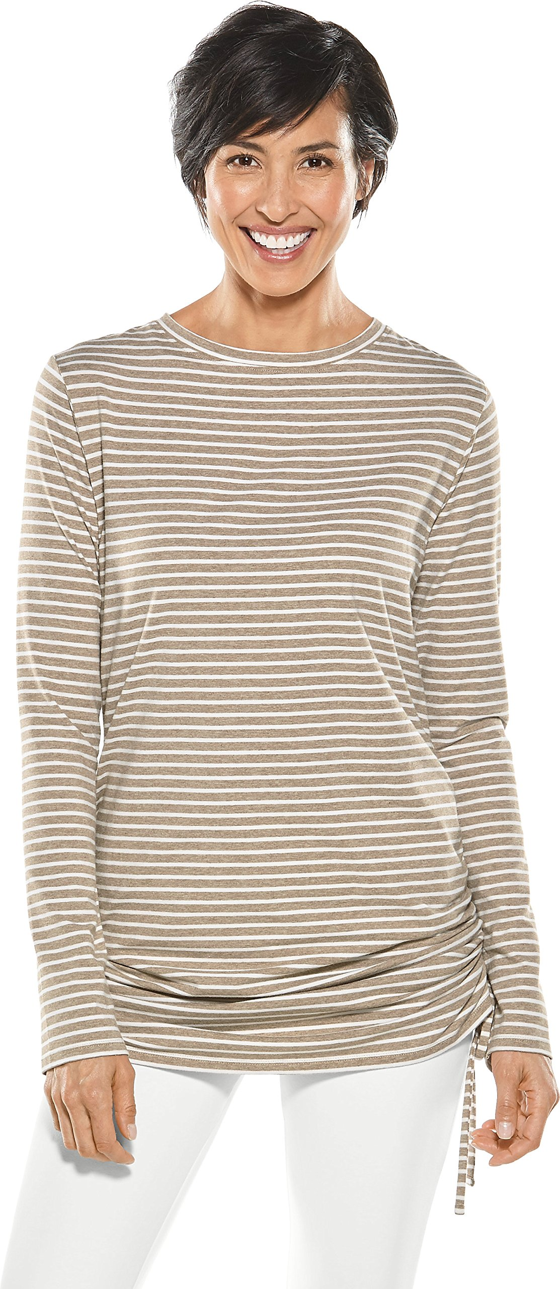 Coolibar UPF 50+ Women's Summer Cover-up - Sun Protective (Small- Dark Taupe/White)