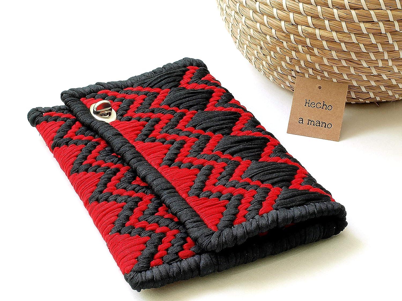 Monedero clutch sobre de fiesta rojo y negro: Amazon.es ...