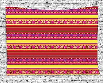 qinghexianpan - Tapiz mexicano, diseño de rayas de colores vibrantes con abstracto de lagarto de