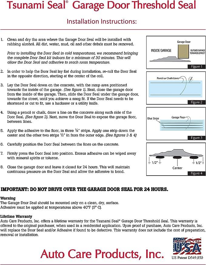 16 Foot Brown Tsunami Seal 52016 Lifetime Garage Door Threshold Seal Kit Various Sizes Available