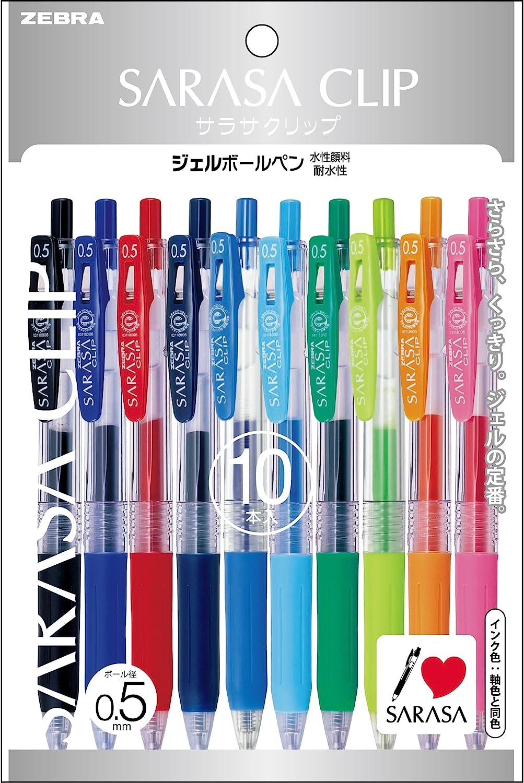 Zebra Sarasa Push Clip Gel Ink Pen 0.5 mm 10 Color Set