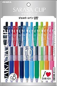 JJ15-10CA 10 Color Set Zebra Gel Ball Pen SARASA Clip 0.5mm