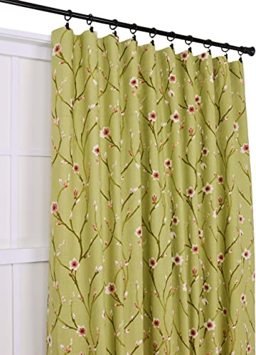Ellis Curtain Cranwell Open Vine 50-Inch by 84-Inch 3-in-1 Tailored Panel, Green
