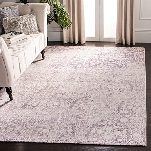 Safavieh Passion Collection PAS403A Vintage Medallion Watercolor Lavender and Ivory Distressed Area Rug 9 x 12