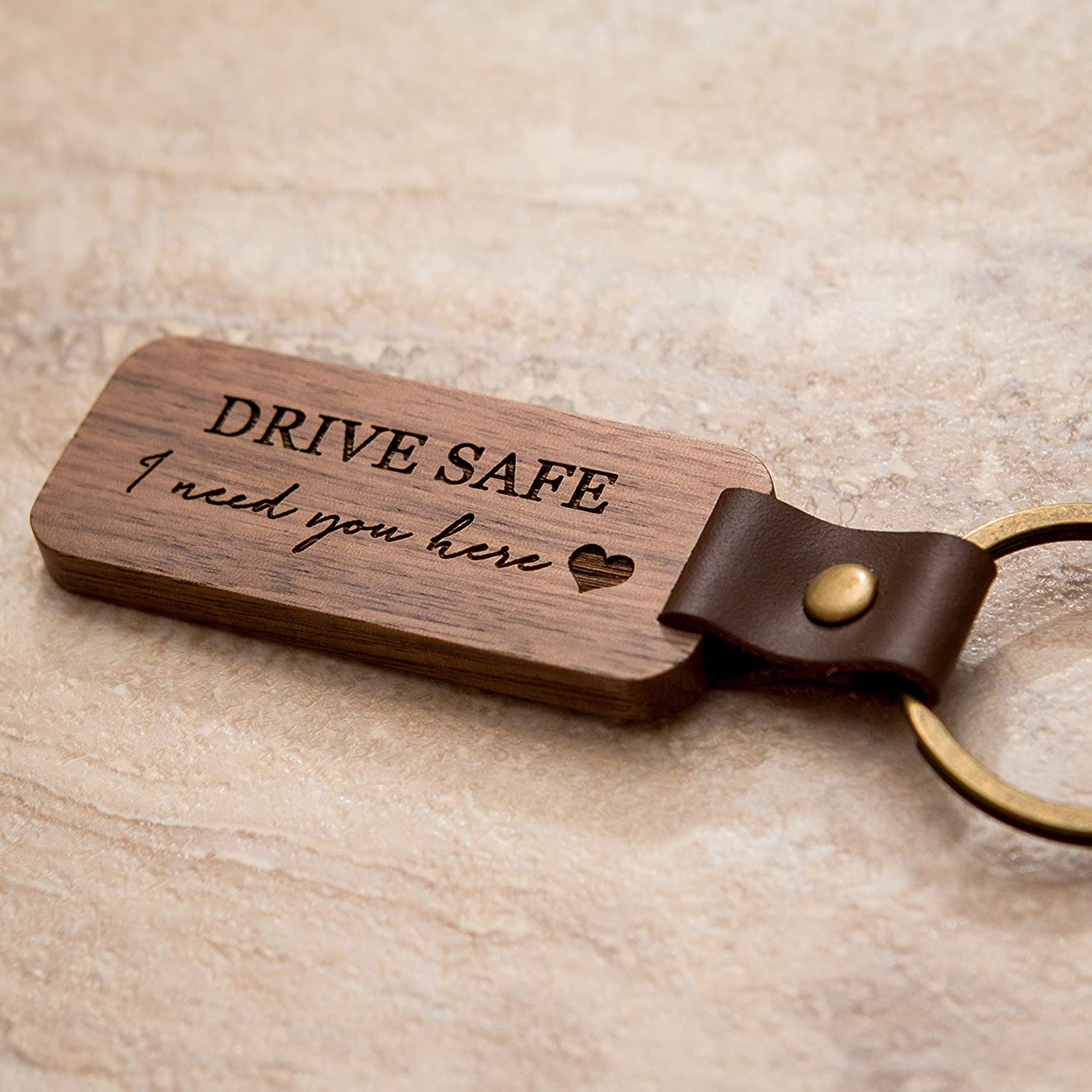 Gift for Husband Wife Dad Boyfriend Trucker Driver Gift Drive Safe Engraved Wood Keychain