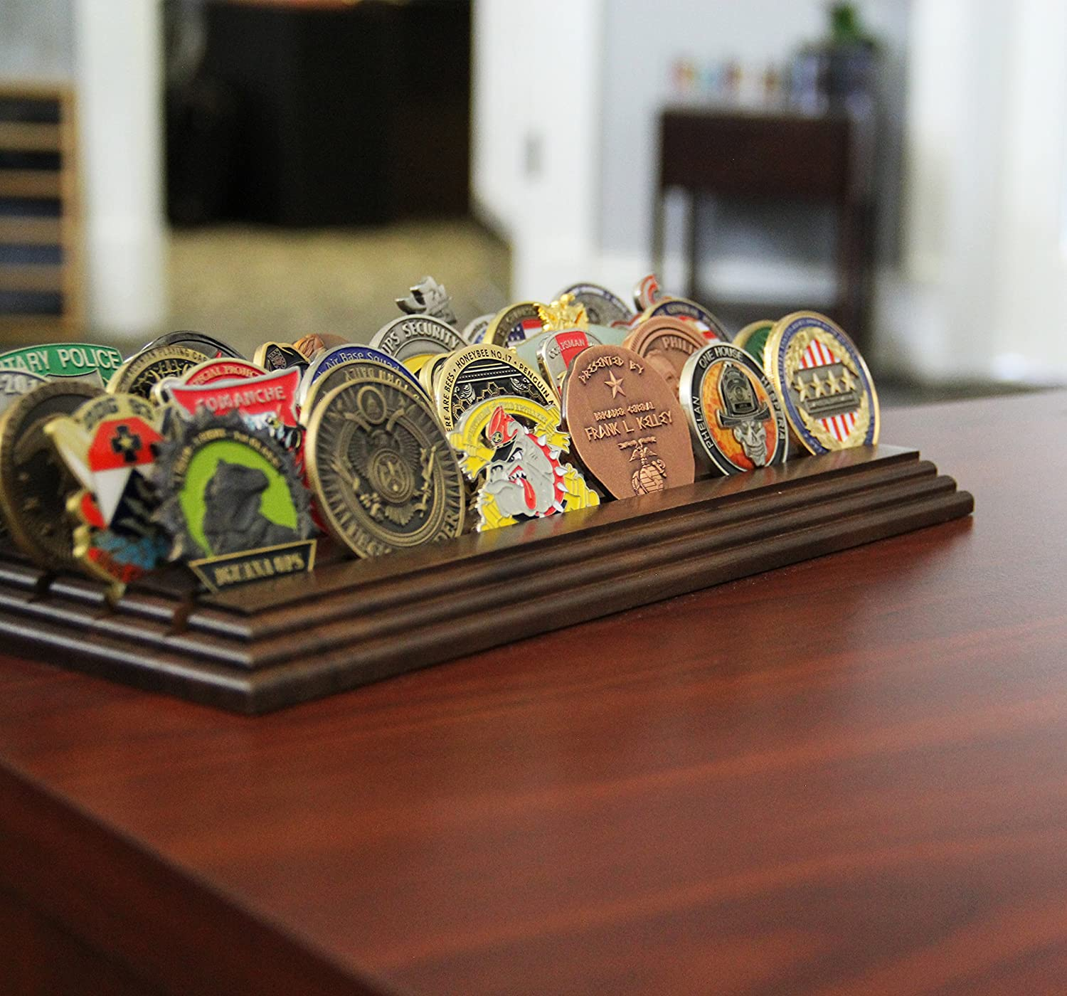 Coins For Anything Inc Amazing Military Challenge Coin Holder Holds 30-36 Coins 5 Rows Made in The USA! Military Coin Display Stand Solid Walnut 5 Row Challenge Coin Holder