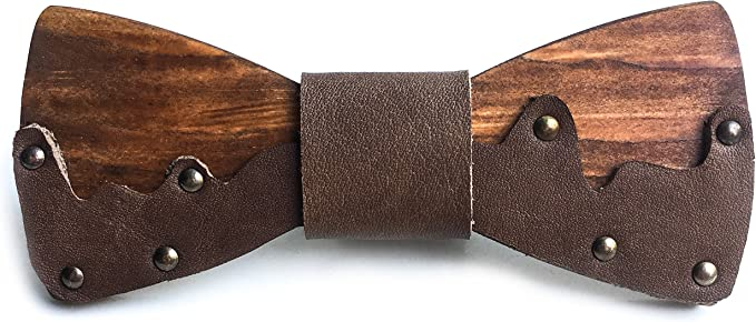 SALE 1+1=3 wooden and leather handmade bow tie from OLLY