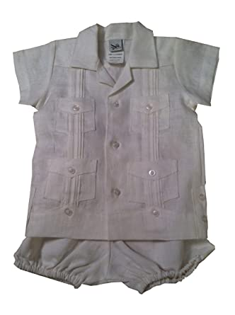 4ce81edf0f0a Amazon.com  Infant Boys Linen Guayabera Bubble Set-white-12months ...