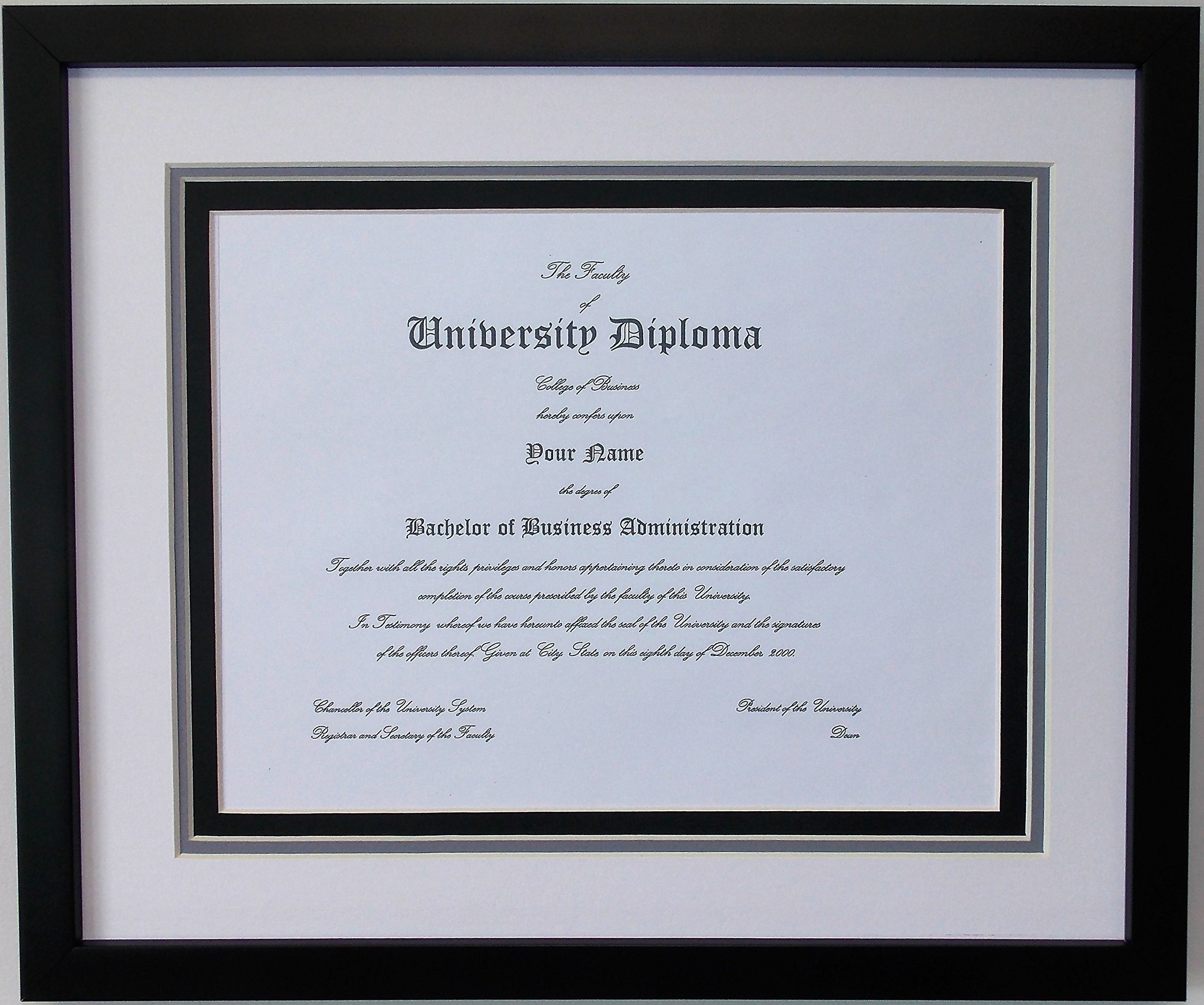Graduation University Diploma Certificate Picture Frame Holds8.5x11 Certificate Triple Matted Black Frame