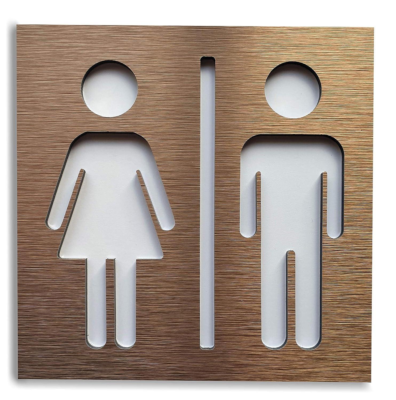 Se/ñales para Puerta WC Cartel de ba/ño Mujer y Hombre F/ácil de aplicar Set de Carteles para Aseo Letrero Autoadhesivo aluminio Inoxidable de 12 x 12 cm Se/ñal de ba/ño