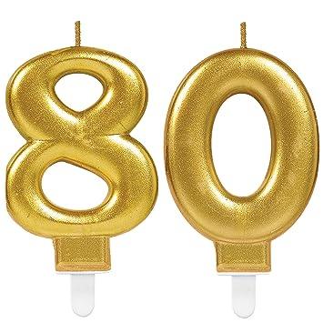 CARPETA® 2 x Número velas * Número 80 * en oro | 11 cm x 9 ...