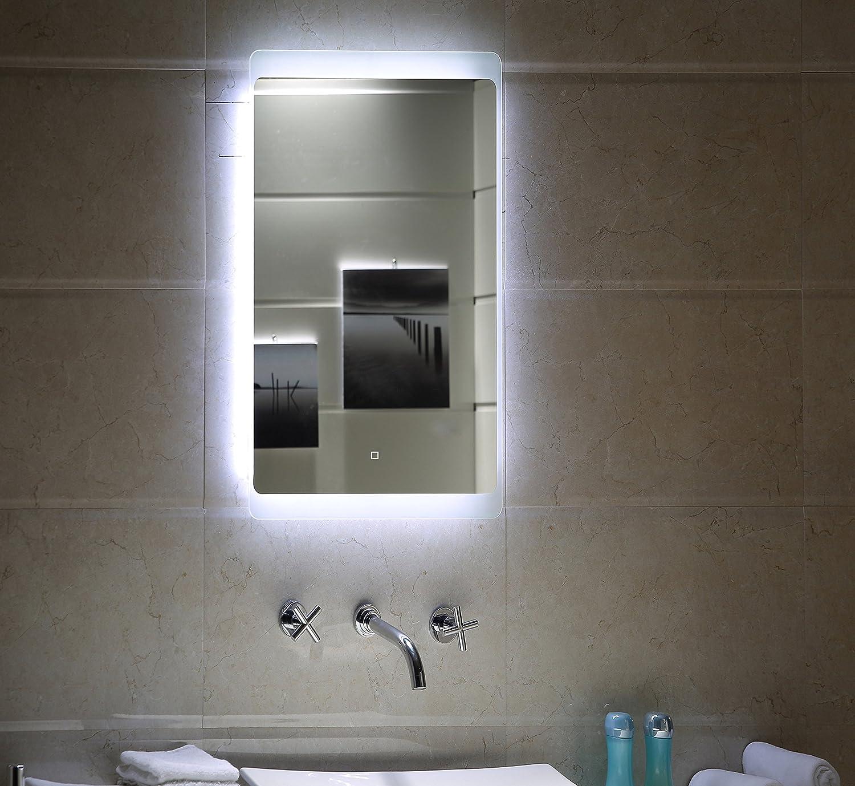 Éclairage LED Interrupteur tactile Miroir de salle de bain gs044 Miroir lumineux miroir mural - Verre - 40 x 60 cm