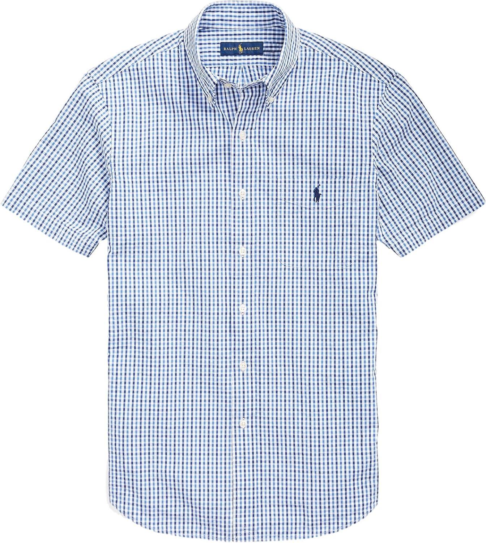 Slim WhitNvyMulti, Small RALPH LAUREN Polo Mens Short Sleeve Seersucker Sport Shirt