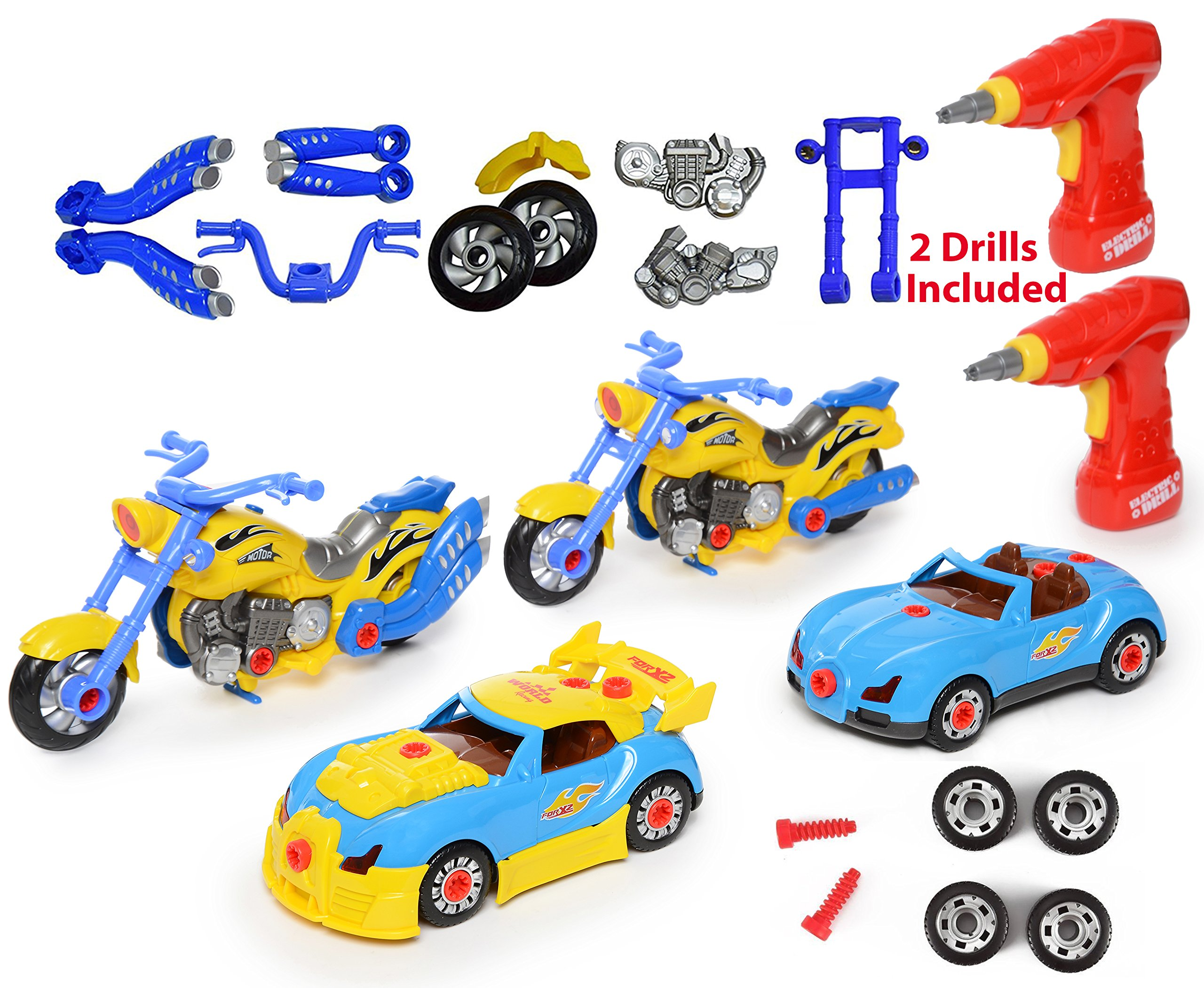 Take Apart Racing CAR MOTORCYCLE Toys Build Your Own Toy with 52