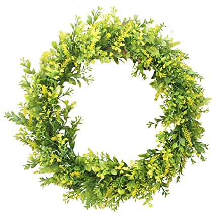 Amazon Com Duovlo 17 72 Inch Artificial Green Leaf Wreath Front