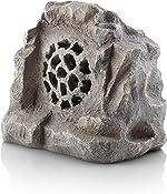 Alpine Corporation QLP542SLR-GR Bluetooth Enabled Rock Solar Speaker, Grey