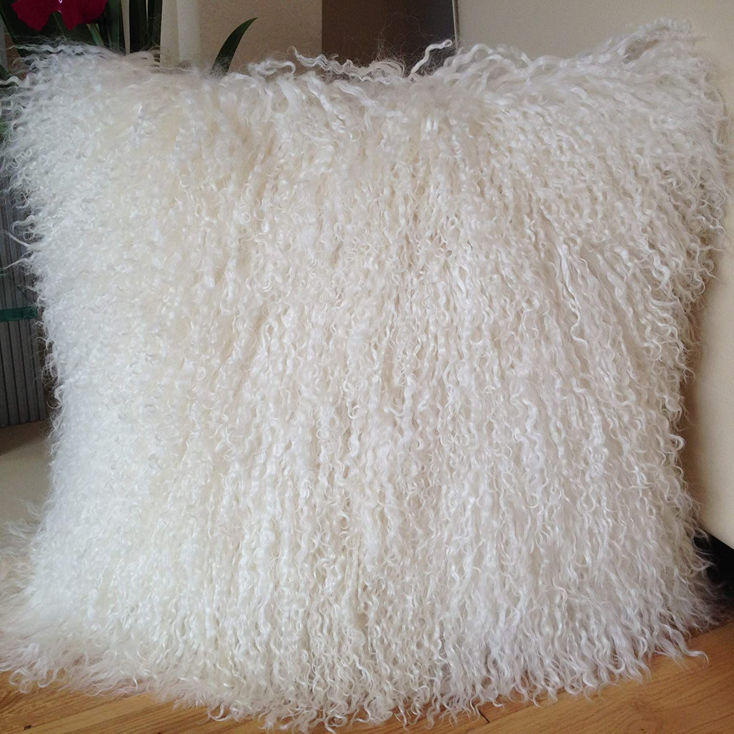 Mongolian Lamb Pillow Purple Sheepskin Fur cushion New made in  USA