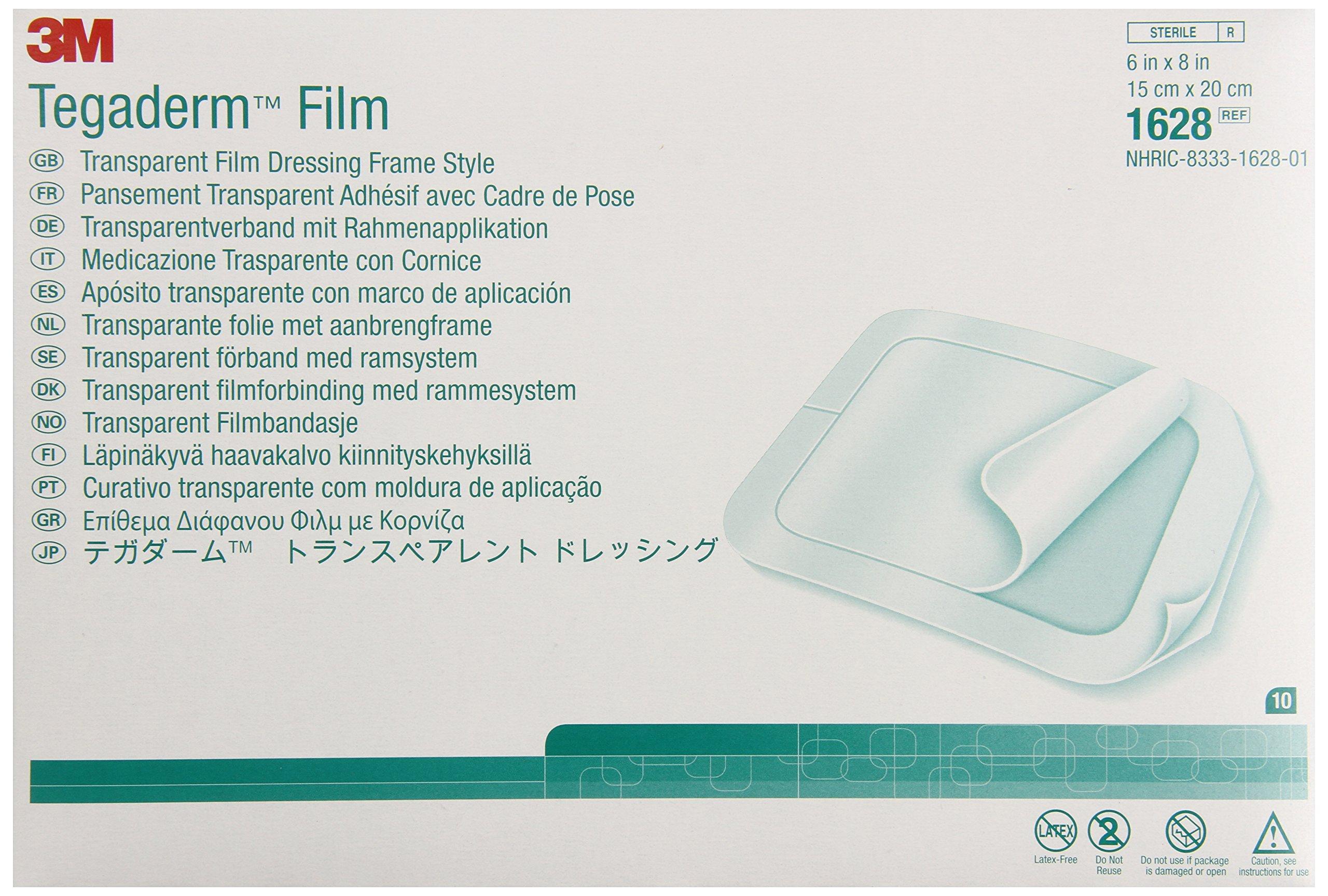 3M 1628 Tegaderm Transparent Film Dressing Frame Style (Pack of 10)