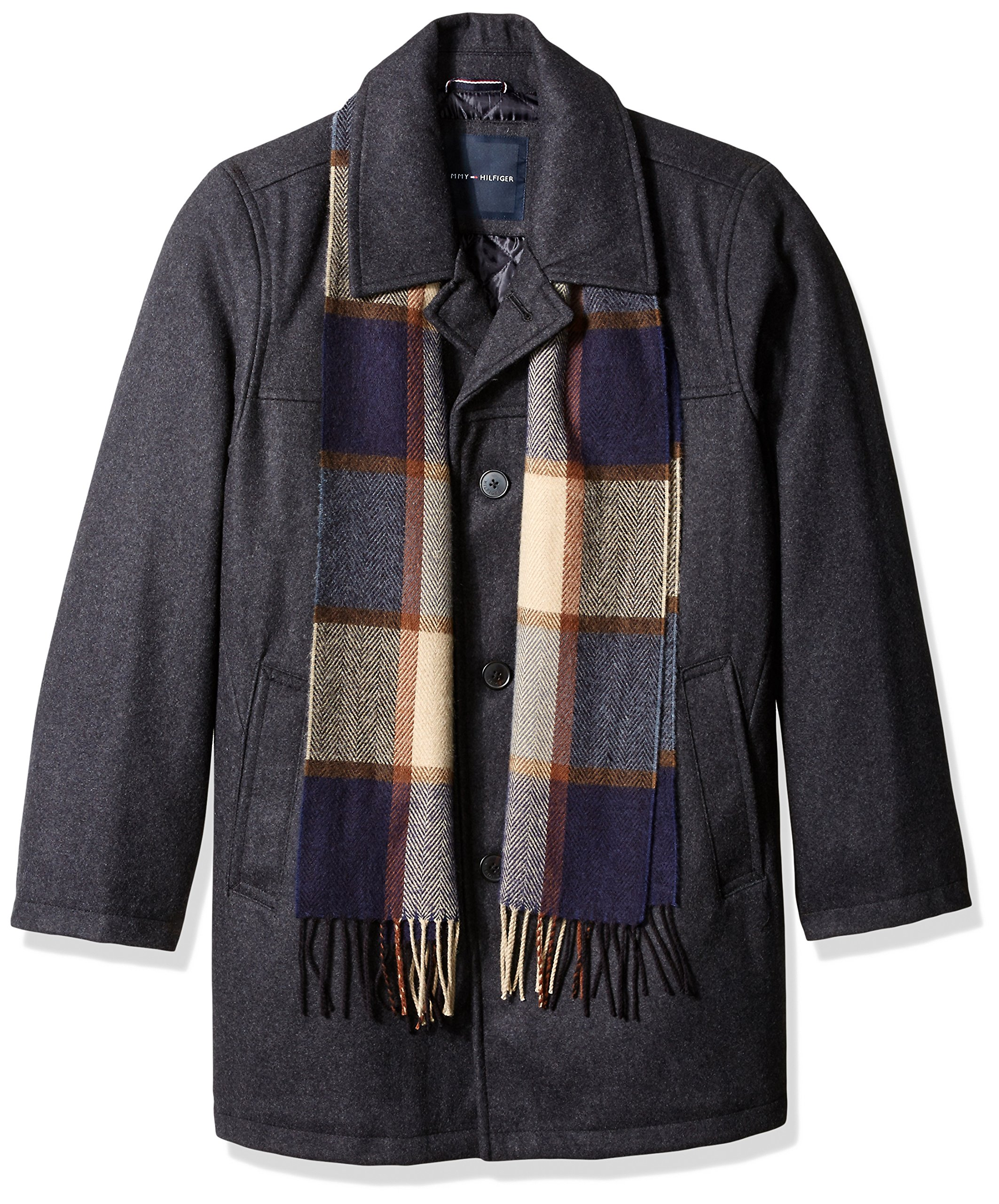 Tommy Hilfiger Men's Big Wool Melton Walking Coat with Detachable Scarf, Charcoal, 3X-Large by Tommy Hilfiger