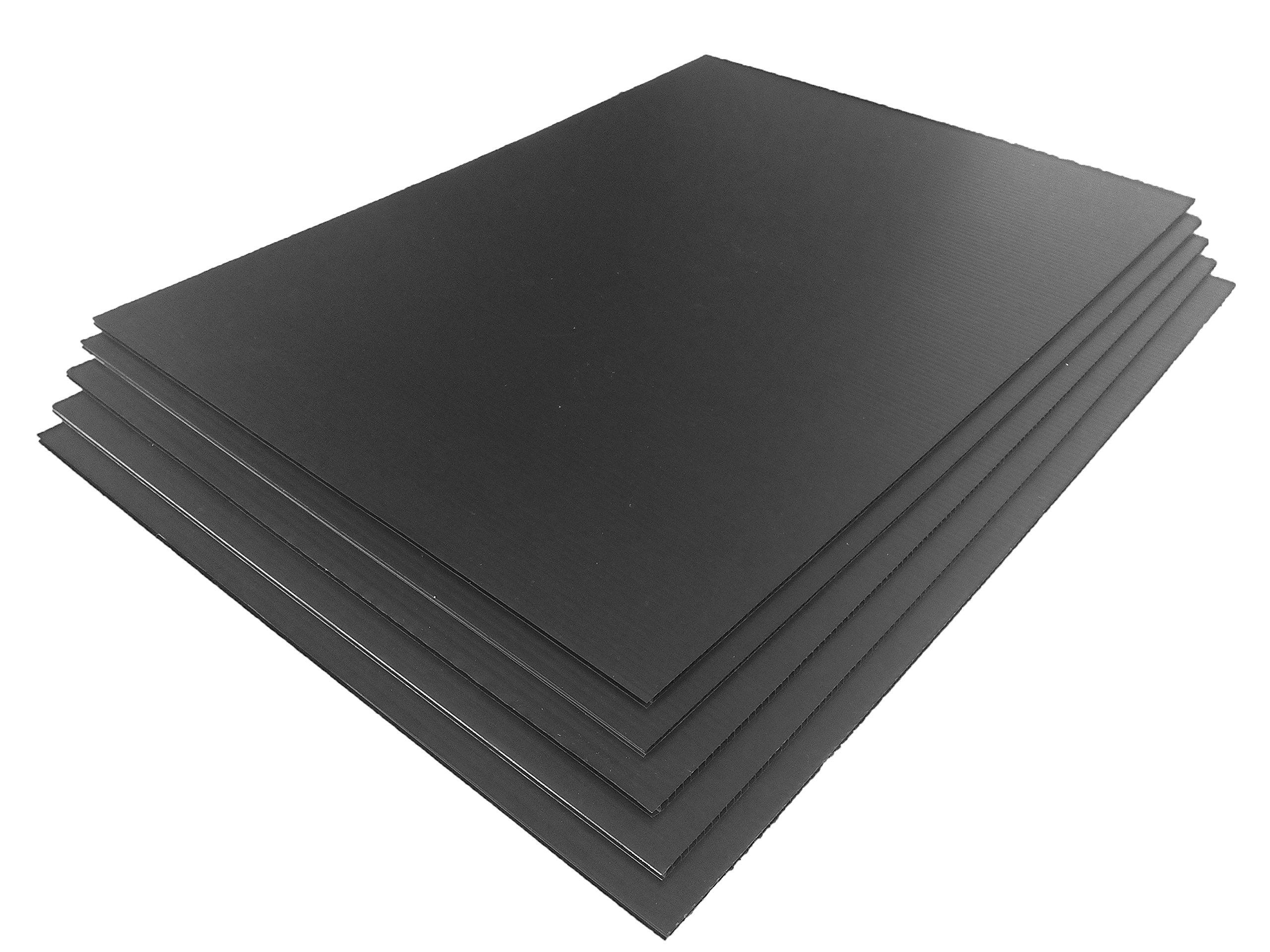 TSM Coroplast Correx Poster Corrugated Plastics Sheets Sign Blank Board (24''x18''x4mm., 5-pack/blacks) by TSM